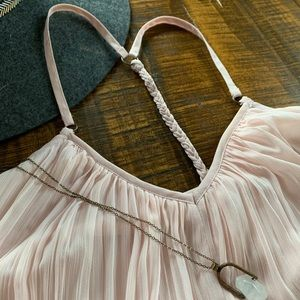 Blush pleated mini dress